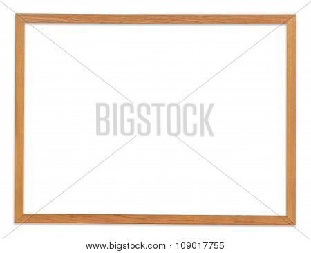 Brown Frame Picture Isolated On White With Clipping Path.