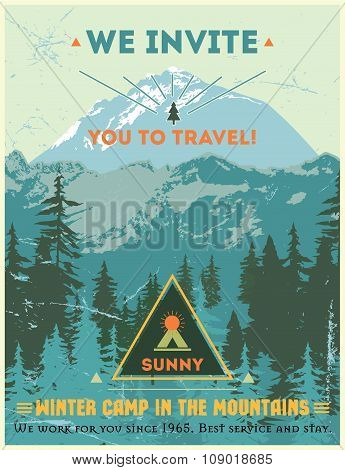 Vintage poster journey to the mountains. Retro design mountain camp outdoors.