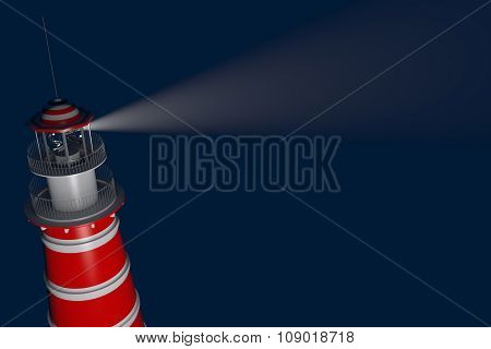 Powerful Lighthouse Illuminated At Night. 3D Rendering
