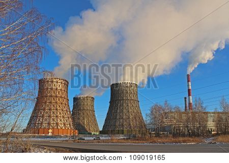 Thermal power plant in city