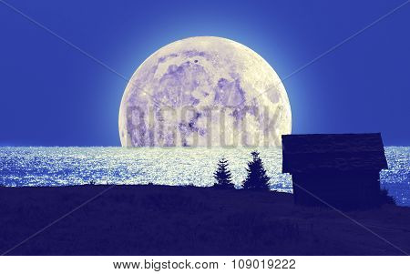 Silhouettes of a countryside with Moon and sea/ocean horizon.