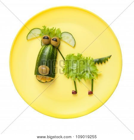 Funny Vegetable Dog On Yellow Plate