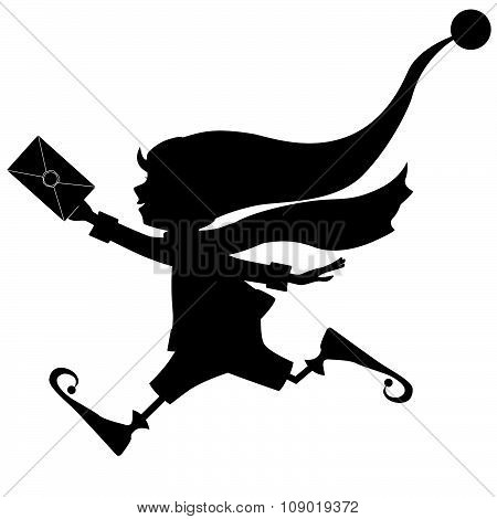Silhouette of runing Christmas elf with letter