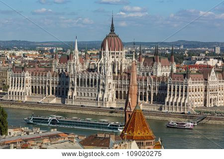 BUDAPEST, HUNGARY - CIRCA SEP 2015: View of Hungarian Parliament Building on the bank of the Danube in Budapest. Pest panorama of the Danube - UNESCO world heritage site.
