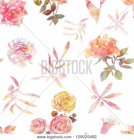 A seamless background pattern with tender toned roses and leaves