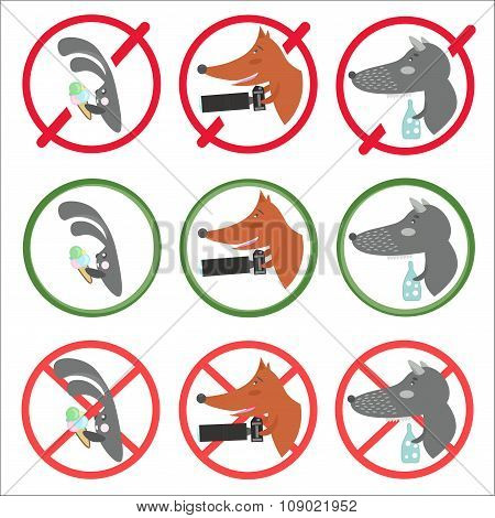 Prohibitory Signs And Allow For Different Occasions