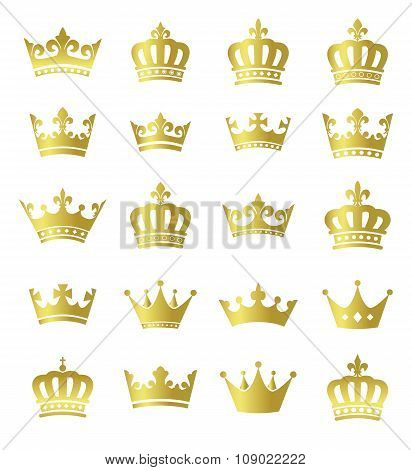 Golden crowns - set of vector gold crown symbols