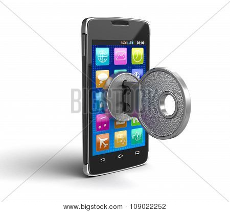 Touchscreen smartphone with lock (clipping path included)