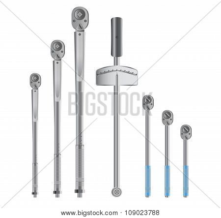 Torque wrenches isolated on white background