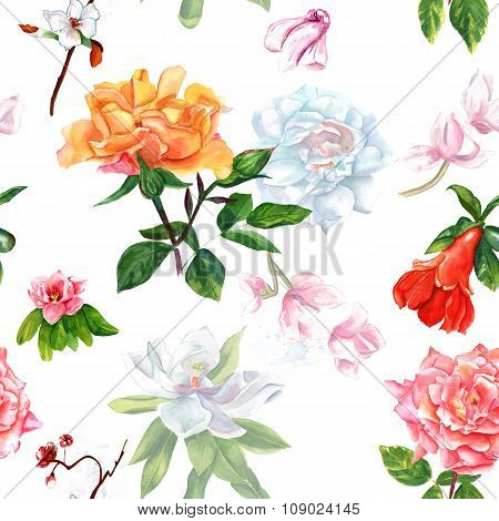 Retro style watercolour flowers (roses, magnolias and others), seamless background pattern