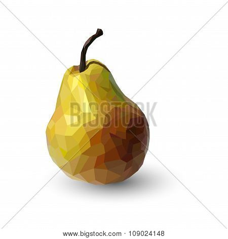 Polygonal Multicolored Pear, In Vector, Isolated On White Background