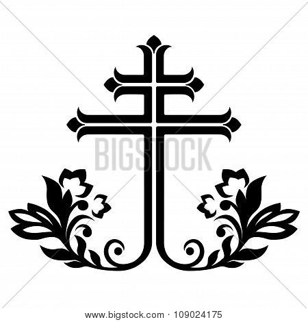 Ornamental catholic cross, vector illustration.