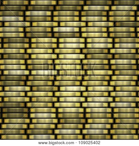 Gold coins. Coin stack seamless texture - coins in columns.
