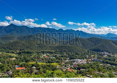 Viewpoint At  Wat Phra That Doi Gongmoo With View Of Maehongson City In Thailand.