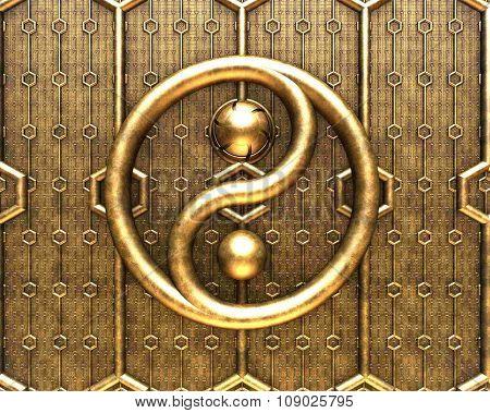 metallic yin yang background