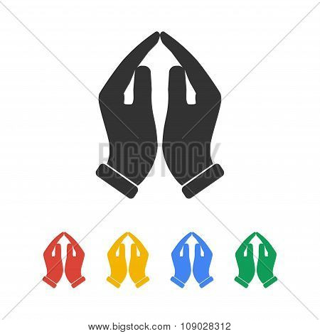 Praying Hands Icon, Vector Illustration.