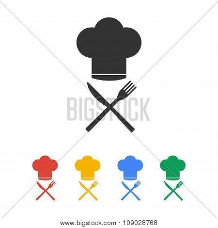 Chef Hat With Cutlery, Vector Illustration
