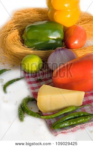 Fresh Homegrown Vegetables And Chees