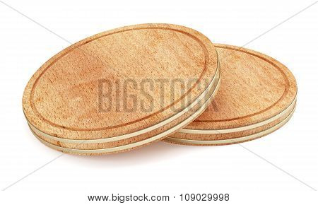 Two Wooden Plate Isolated On White Background