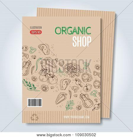Vector cardboard organic shop template.