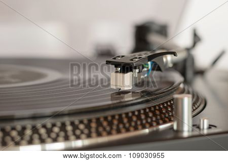 Closeup Of A Retro Turntable