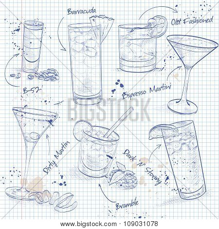 The Unforgettables Cocktail Set on a notebook page