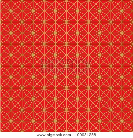 Golden seamless Chinese style rhomb flower pattern background.