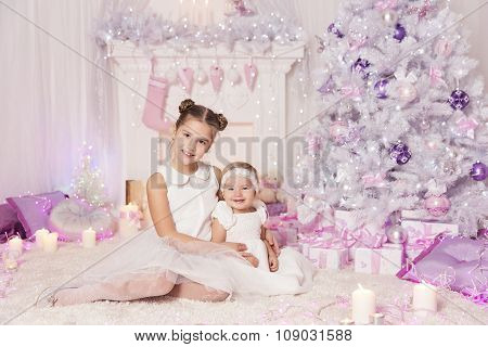 Christmas Children, Kid Baby Girls, Decorated Pink Room Xmas Tree