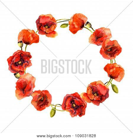 Watercolor painted floral round wreath with bright poppy flowers. Aquarelle art