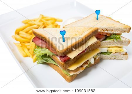 Traditional sandwich with french fries.