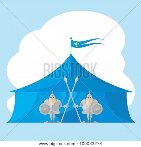 Set Of Vector Shapes Funny Medieval Knight With A Spear And Shield In The Hands Backdrop On Tent Iso
