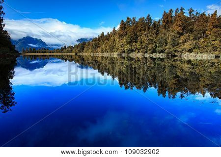 Reflection Scenic Of Lake Matheson In South Island New Zealand