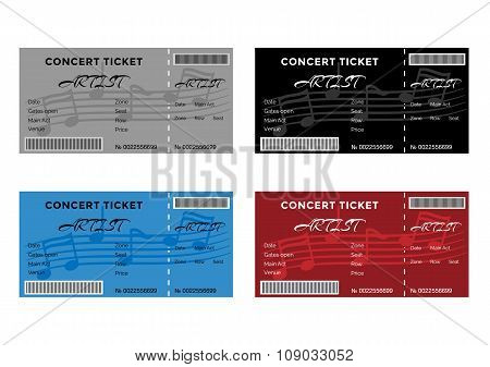 Set of Colorful Concert Tickets with Musical Notes.