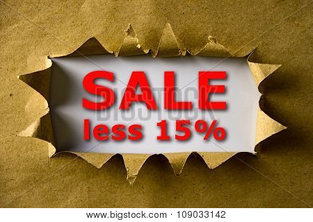 Torn Brown Paper With Sale Less 15% Words