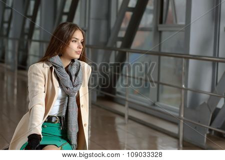 Woman Waits For The Flight In Transit