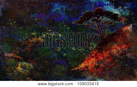 Painting sunset, sea and tree, wallpaper landscape, color collage. and abstract grunge background wi