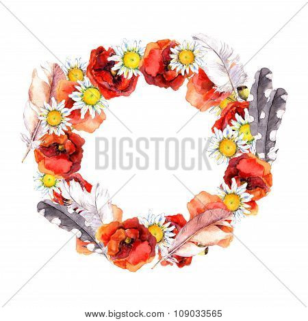 Floral beautiful round wreath with vibrant flowers poppies, camomile and feathers for elegant postca