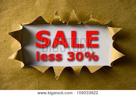 Torn Brown Paper With Sale Less 30% Words