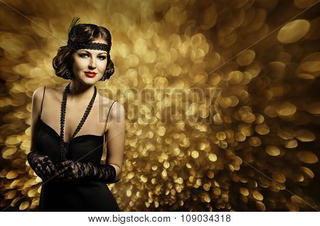 Fashion Woman Hair Style Make Up, Elegant Retro Lady, Model Black Dress