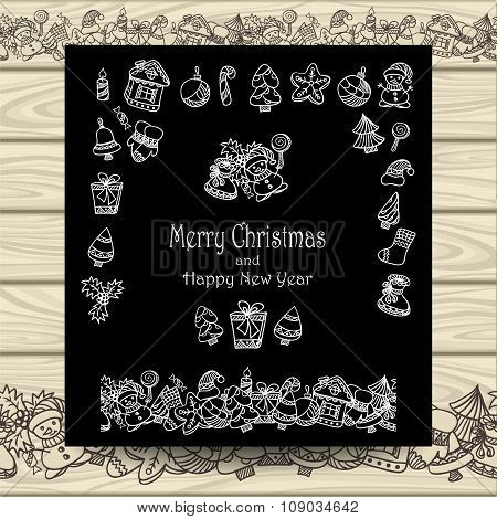 Set Christmas doodle elements   on  black with beige wood