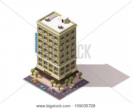 Isometric icon representing building with jewelry store