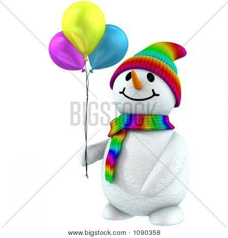 3D Snowman With Balloon