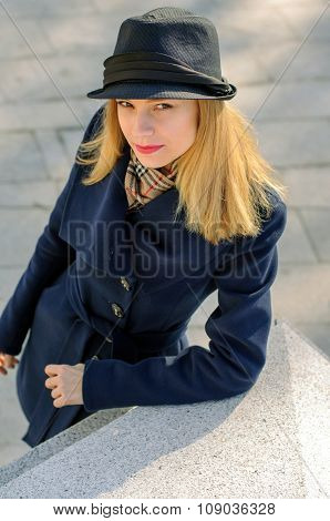Girl In A Hat With A Golden Hair
