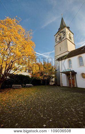 Church In Zurich, Switzerland At Autumn