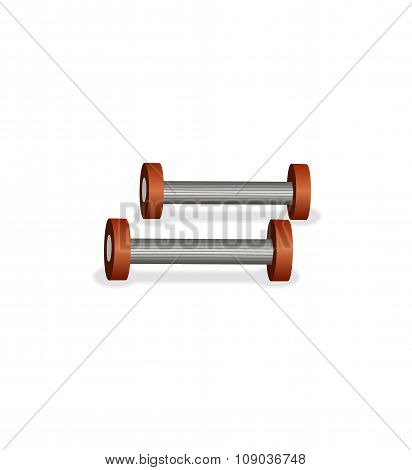 Two dumbbells on the white background
