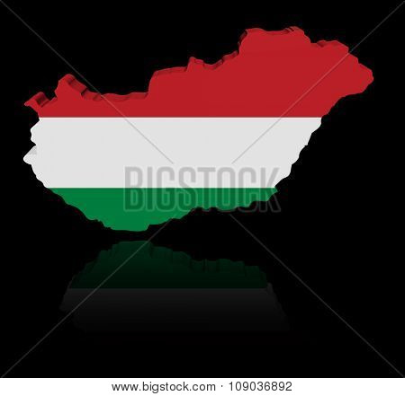 Hungary map flag with reflection illustration