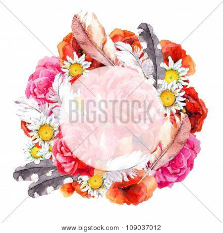 Floral beautiful wreath with bright flowers poppies, camomile, rose and feathers for greeting card.