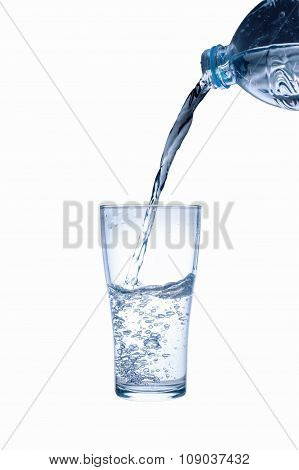 Water Splashing From Plastic Bottle Isolated, Clipping Path
