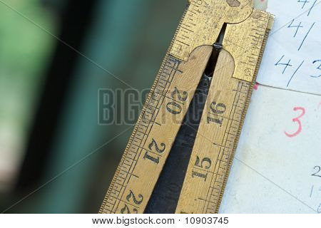 Carpenters Ruler With Written Measurements