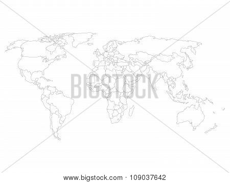 World map with smoothed country borders